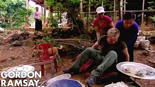 Gordon Ramsay Falls Off A Chair While Making Rice Cakes In Vietnam | Gordon's Great Escape