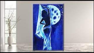 Acrylic Painting On Canvas /Step By Step For Beginners /a Girl And Moon /MariArtHome