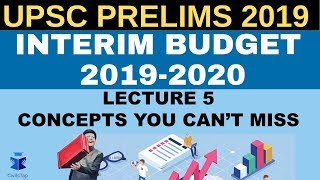 Interim Budget 2019-2020  for UPSC Prelims 2019 | Revise with MCQs | Lecture 5