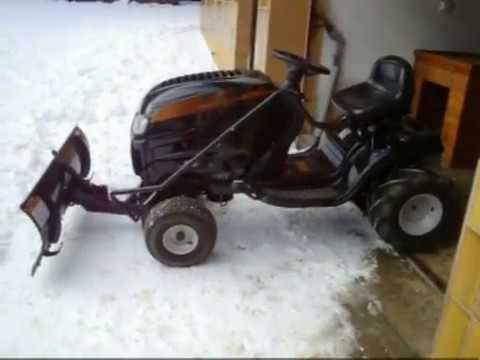 Winterdienst, Schnee räumen mit MTD Rasentraktor, snow blowing, schnee schieben