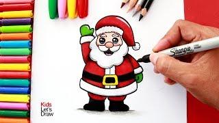 Aprende A Dibujar Y Pintar A PAPÁ NOEL Fácil   How To Draw A Cute Santa Claus