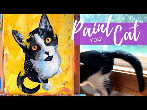 Painting Your Cat in Acrylics | 30-Minute Beginner Painting