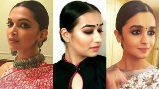 Sleek Low Bun Inspired By Deepika Padukone And Alia Bhatt   Indian Hairstyles For Medium/long Hair