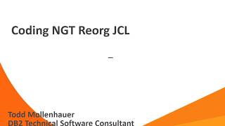 BMC Next Generation Technology for DB2 (NGT) Reorg 12.1 - JCL Coding