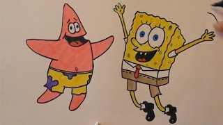 Смотреть онлайн Как поэтапно нарисовать Спанч Боба и Патрика