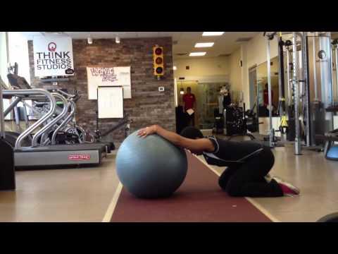 Swiss ball lat stretch