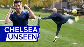 Azpilicueta v Marcos Alonso v Caballero In Headers and Volleys Challenge! ⚽️ | Chelsea Unseen