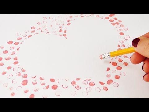 Herz mit Radiergummi Stempel basteln   Geschenkidee zum Muttertag und Vatertag