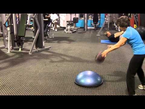 Lateral Shuffle w/BOSU Medicine Ball Rebounder