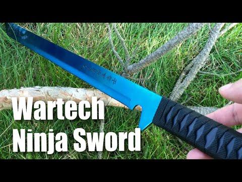 Wartech K1020-60-BL 27″ 18″ 440 Stainless Steel Full Tang Blue Ninja Hunting Machete Knife Sword Set