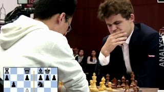 Magnus Carlsen Crushes GM Yu Yangyi (2736) In 16 Moves | Blitz Chess Playoff Qatar Chess Master 2015