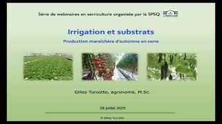 Irrigation et substrats en culture maraîchère en serre