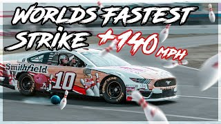 Jason Belmonte and Aric Almirola World Record GoBowling World's Fastest Strike. (Over 140mph)