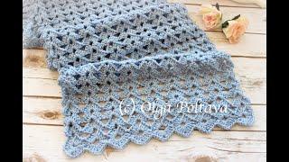 How To Crochet Lace Scarf, Easy Shells Crochet Stitch, Crochet Video Tutorial