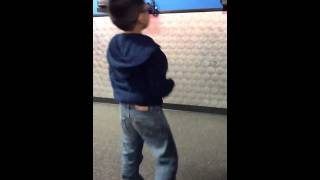 Kid doing the pee pee dance in public got to watch