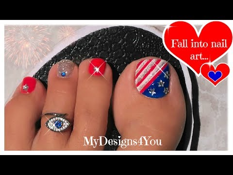 Classic 4th of July Toenail Art Tutorial   Independence Day Pedicure ♥