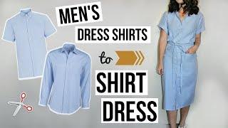 Mens Dress Shirts To Shirt Dress EASY DIY REFASHION | Episode 10