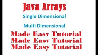 Java Arrays for Beginners Tutorial | One Dimensional Array in Java | Java Multidimensional Array