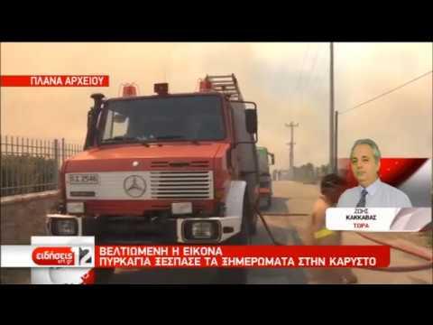 Οριοθετήθηκε η φωτιά στην Κάρυστο | 06/09/2019 | ΕΡΤ