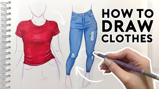 HOW TO DRAW CLOTHES   Sketching & Coloring Tutorial