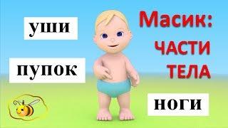 Учим части тела для детей. Учимся с Масиком. Масик: части тела. Развивающий мультфильм для детей