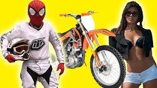 Motorcyclist SpiderMan staged RACE MOTOCROSS on Motorcycle Yamaha in Real Life