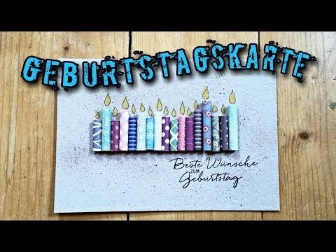 Geburtstagskerzen Karte mit Designer Papier | Karte zum Geburtstag