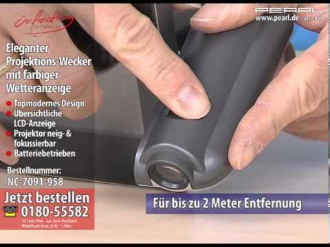 infactory Eleganter Projektions-Wecker mit farbiger Wetteranzeige