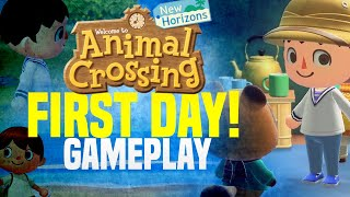 New Animal Crossing Island Gameplay... DAY ONE! Animal Crossing New Horizons Gameplay