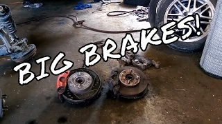 BIG BRAKE KIT - EF Civic crx Front Spindle Swap -  The Honda Track Car Build EP.3