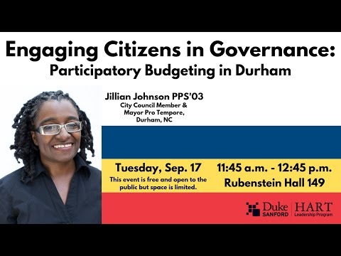 Engaging Citizens in Governance: Jillian Johnson on Durham's Participatory Budgeting Process