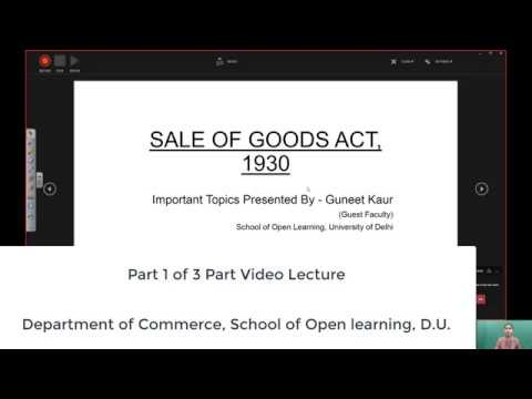 B Com 2nd Semester Part 1 of 3 Parts SALE OF GOODS ACT