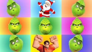 The Grinch and Wreck It Ralph Color Game with Incredibles 2 Christmas Toys from Santa
