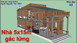 Nhà gác lửng 5x15m - phần kết cấu, thi công và đo kích thước