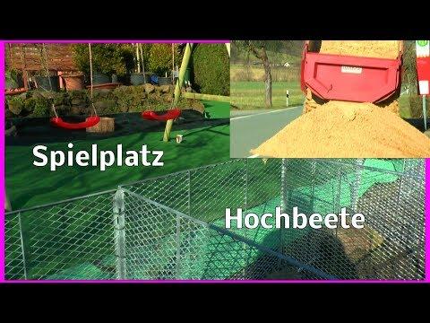 Unser Spielplatz erste heiße Phase im Aufbau Hochbeete und Sand