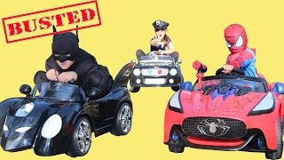 Batman Spiderman BUSTED Racing Power Wheels Ride On Cars At the Park Superhero Playtime Fun Ckn Toys