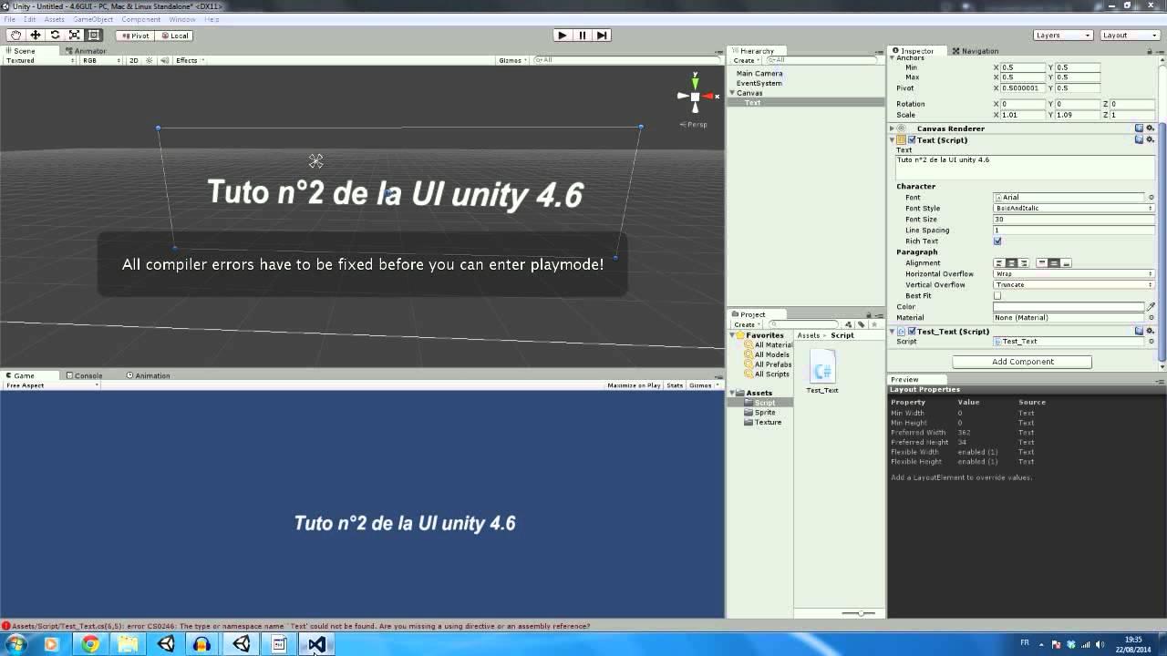 [FR] Tuto n°2 sur l'UI d'unity 4.6 (Texte)