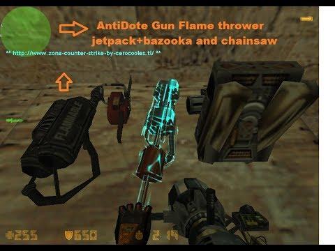 Zombie mod with bots Jetpack+bazooka,antidote Gun,chainsaw,flamethrower