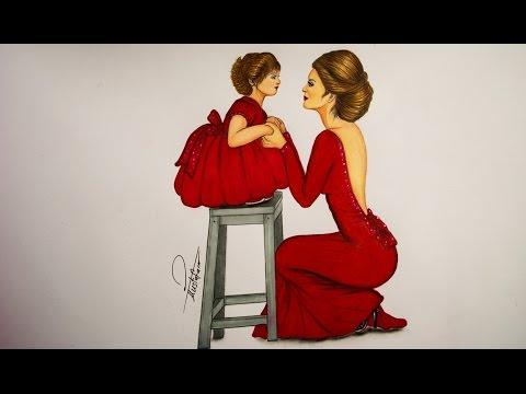 cfbb10de1 تعليم رسم ازياء   رسم فستان لفتاة وطفلة باللون الاحمر - mustafa saadi