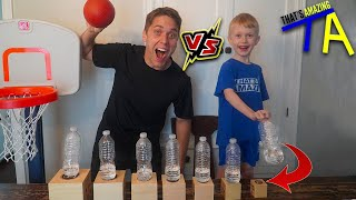 JOSH vs. 6 YEAR OLD TRICK SHOT & BOTTLE FLIP GENIUS! Ft. That's Amazing