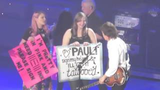 Lucky girls on stage with Paul McCartney in Buffalo!