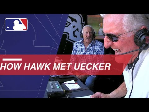 Bob Uecker and Ken 'Hawk' Harrelson swap stories in the booth