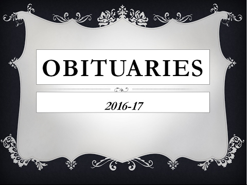 Obituaries 2016 - Most Important 50 - Current Affairs 2016/17 - Death of Famous People
