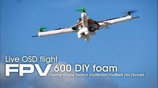 FPV-600 foamy multirotor drone live OSD view - MultiWii Pro