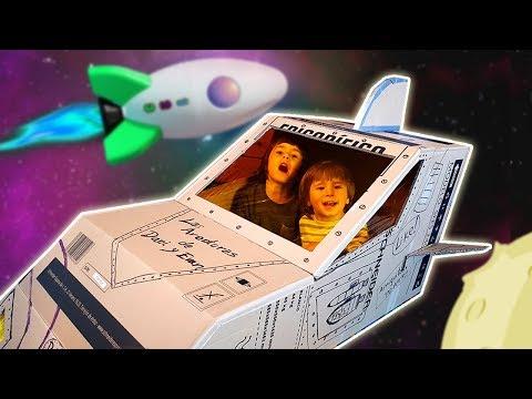 COMO CONSTRUIR UNA NAVE ESPACIAL DE CARTON. DANI Y EVAN primeros niños astronautas en la LUNA!