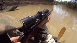 Pig shooting from land and water.