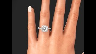 Ritani 1RZ1321 French Set Cushion Halo Diamond Engagement Ring on Hand