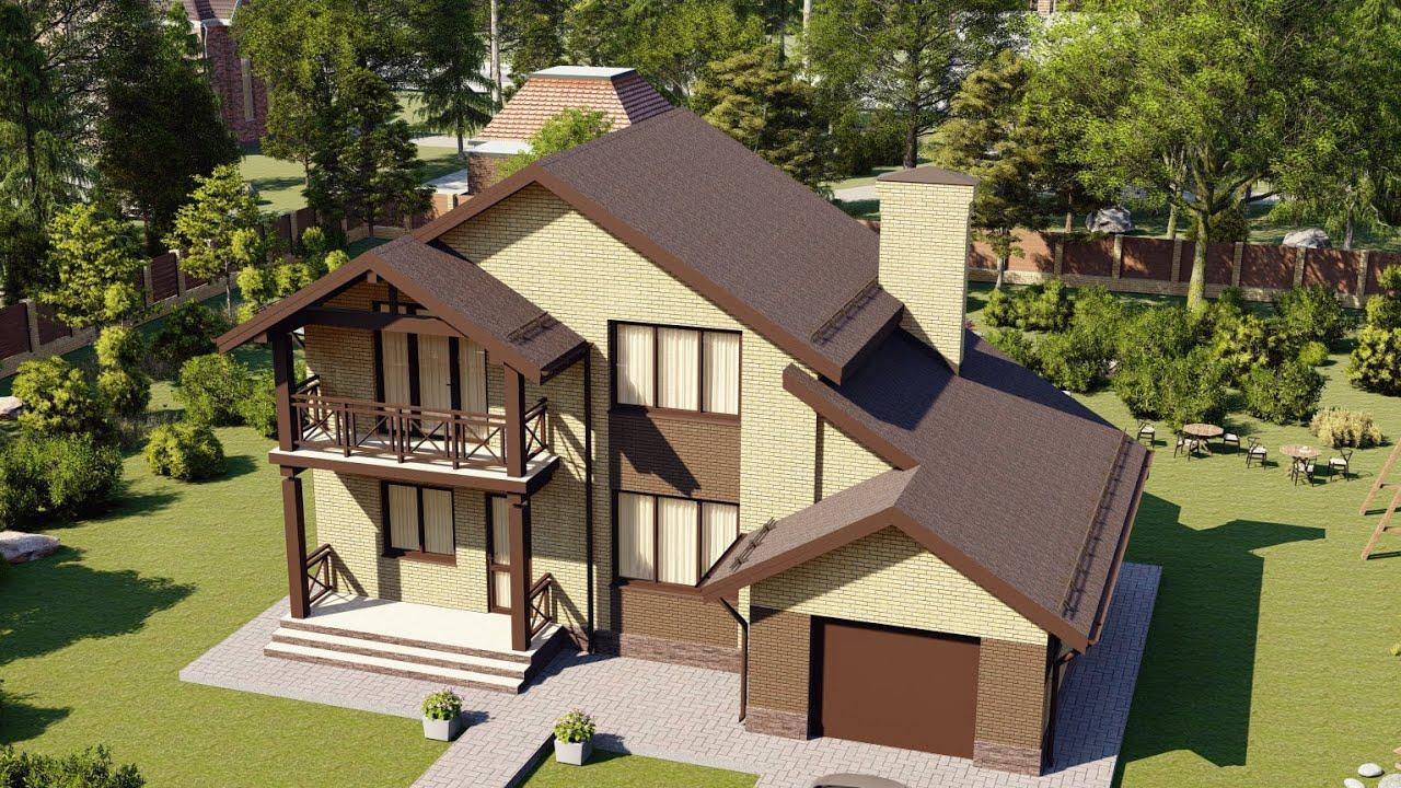 Типовой проект дома с мансардой и гаражом на одно авто