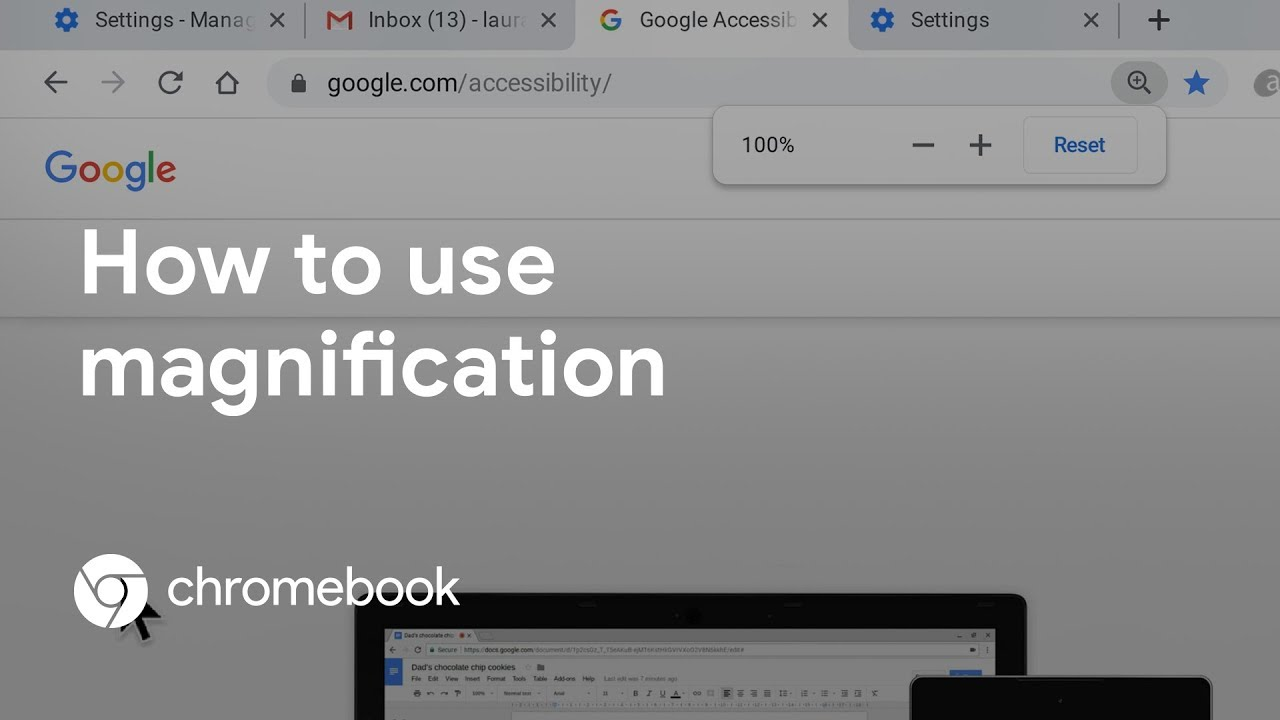 Learn about the different ways to zoom and magnify content on your Chromebook. In this video, we cover how to use browser zoom, full screen magnification, docked magnification, and more.