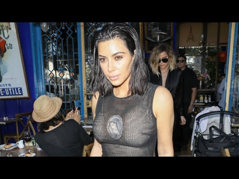 Kim Kardashian Wearing The Virgin Mary On Sheer Dress
